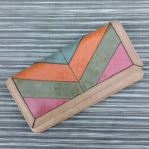Fossil Leather Patchwork Wallet Retro Style NWOT